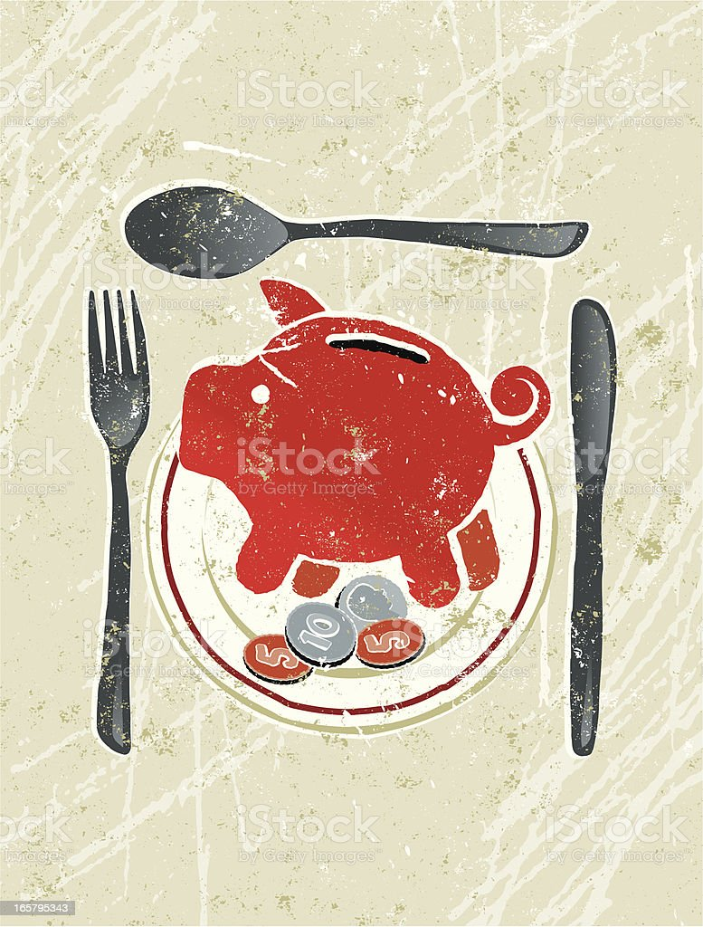Plate with Piggy Bank, Coins, knife, Fork and Spoon vector art illustration