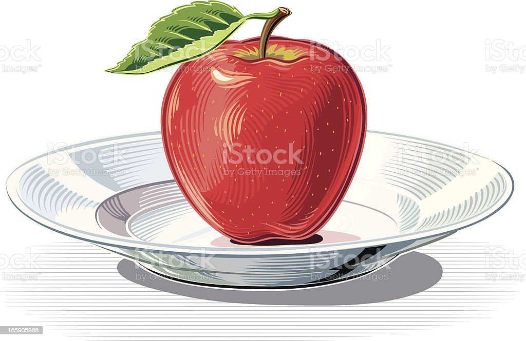 plate With Red Apple royalty-free plate with red apple stock vector art & more images of apple - fruit