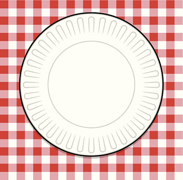 teller mit rot picknick tischtuch - plastikteller stock-grafiken, -clipart, -cartoons und -symbole