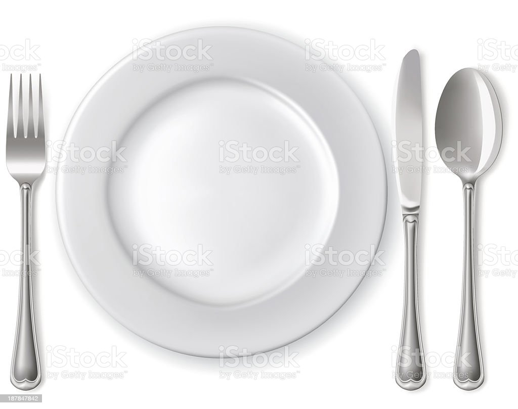 Plate with spoon, knife and fork vector art illustration