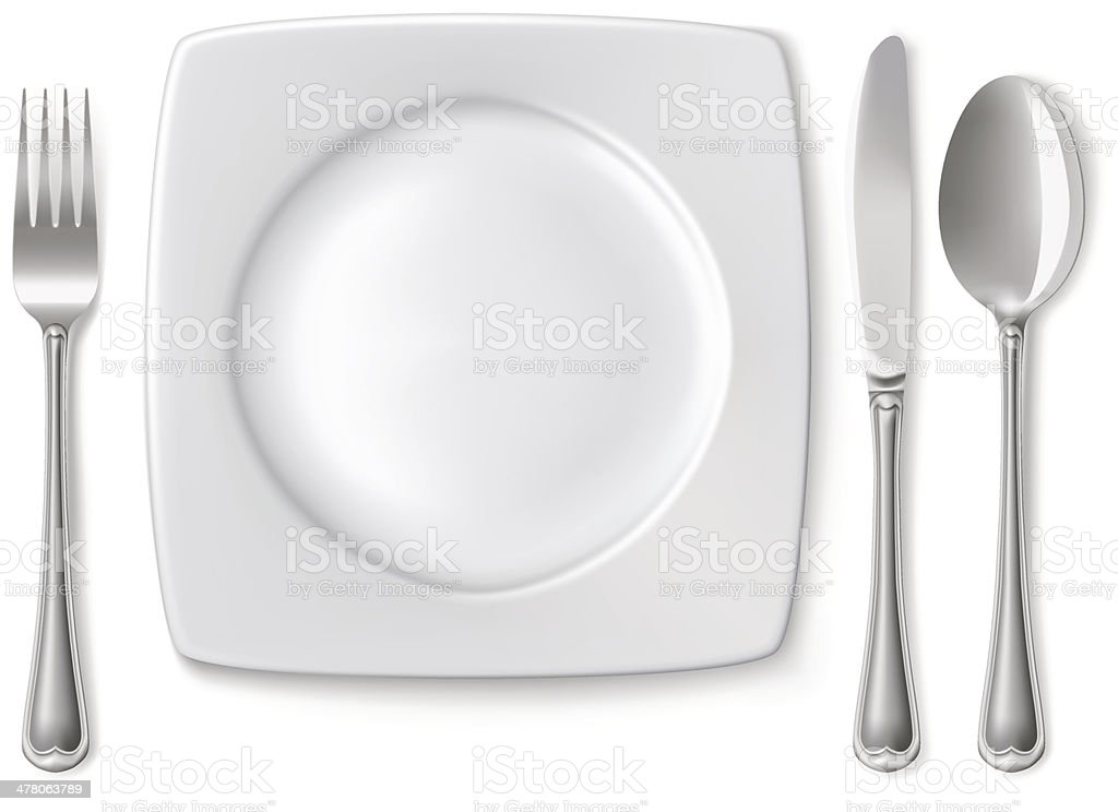 Plate with spoon, knife and fork royalty-free plate with spoon knife and fork stock vector art & more images of breakfast