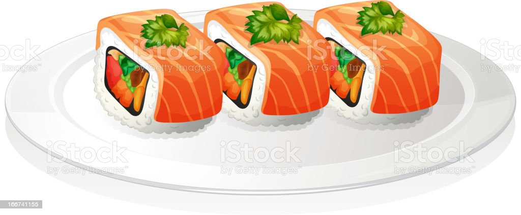 Plate with sushi royalty-free stock vector art