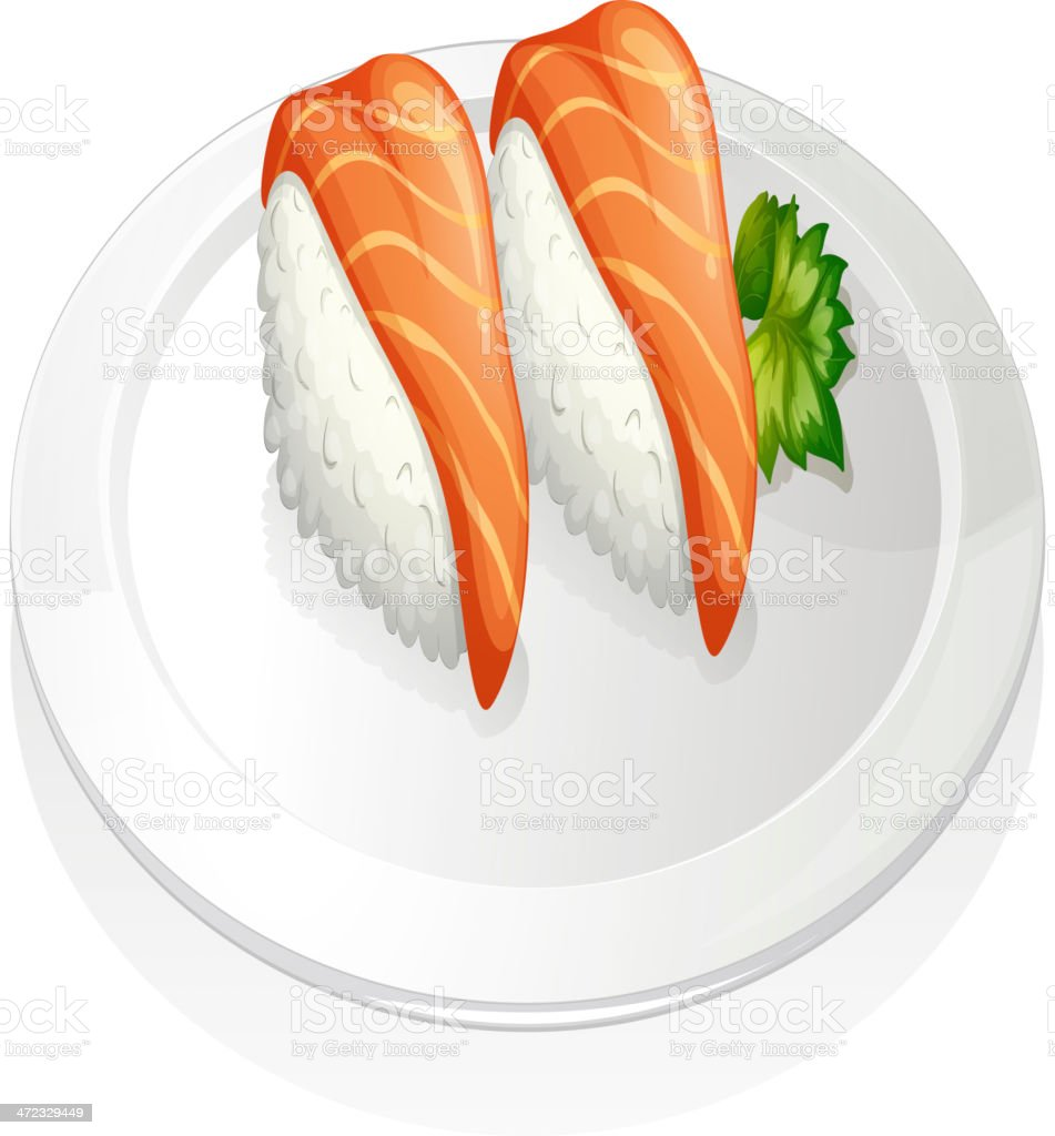 Plate with two sets of sushi royalty-free plate with two sets of sushi stock vector art & more images of backgrounds