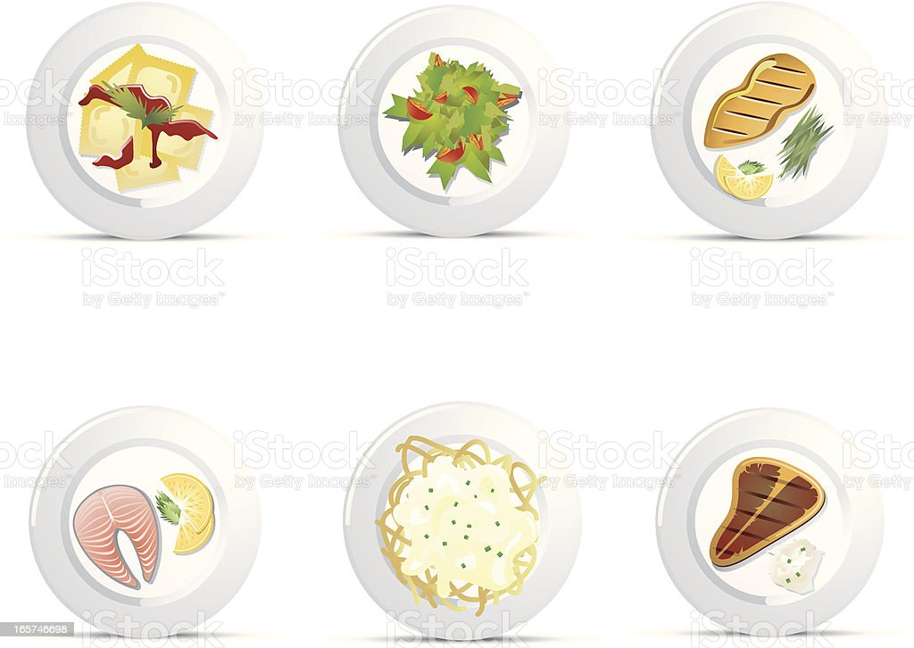 Plated Food Icons vector art illustration