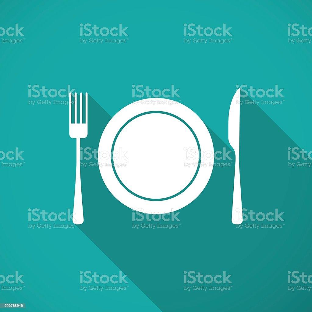 Plate,fork and knife vector art illustration