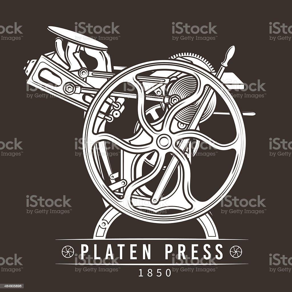 Platen press vector illustration. Old letterpress logo design. Vintage printing vector art illustration
