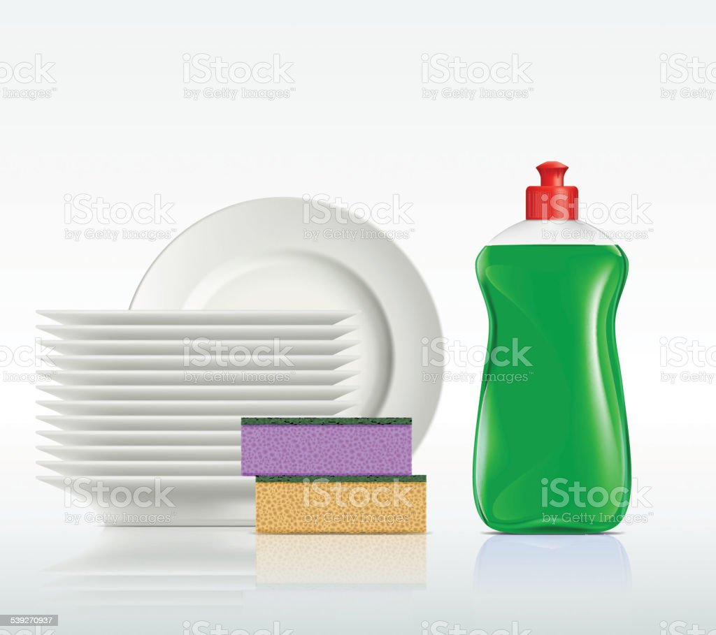 plates and a bottle with detergent isolated on white background vector art illustration