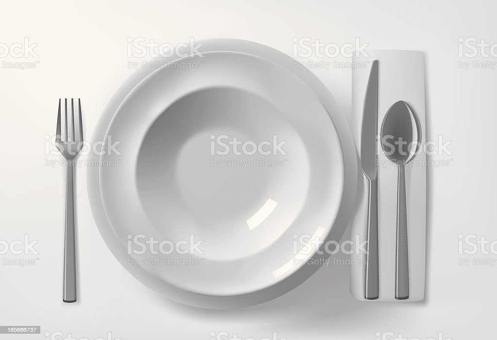 Plates and cutlery on the table royalty-free plates and cutlery on the table stock vector art & more images of black and white