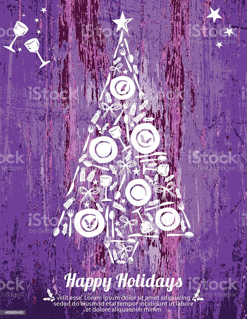 Assiettes et couverts arbre Design Happy Holiday affiche sur imitation bois - Illustration vectorielle