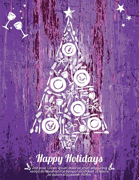 Assiettes et couverts arbre Design Happy Holiday affiche sur imitation bois - Illustration vectorielle