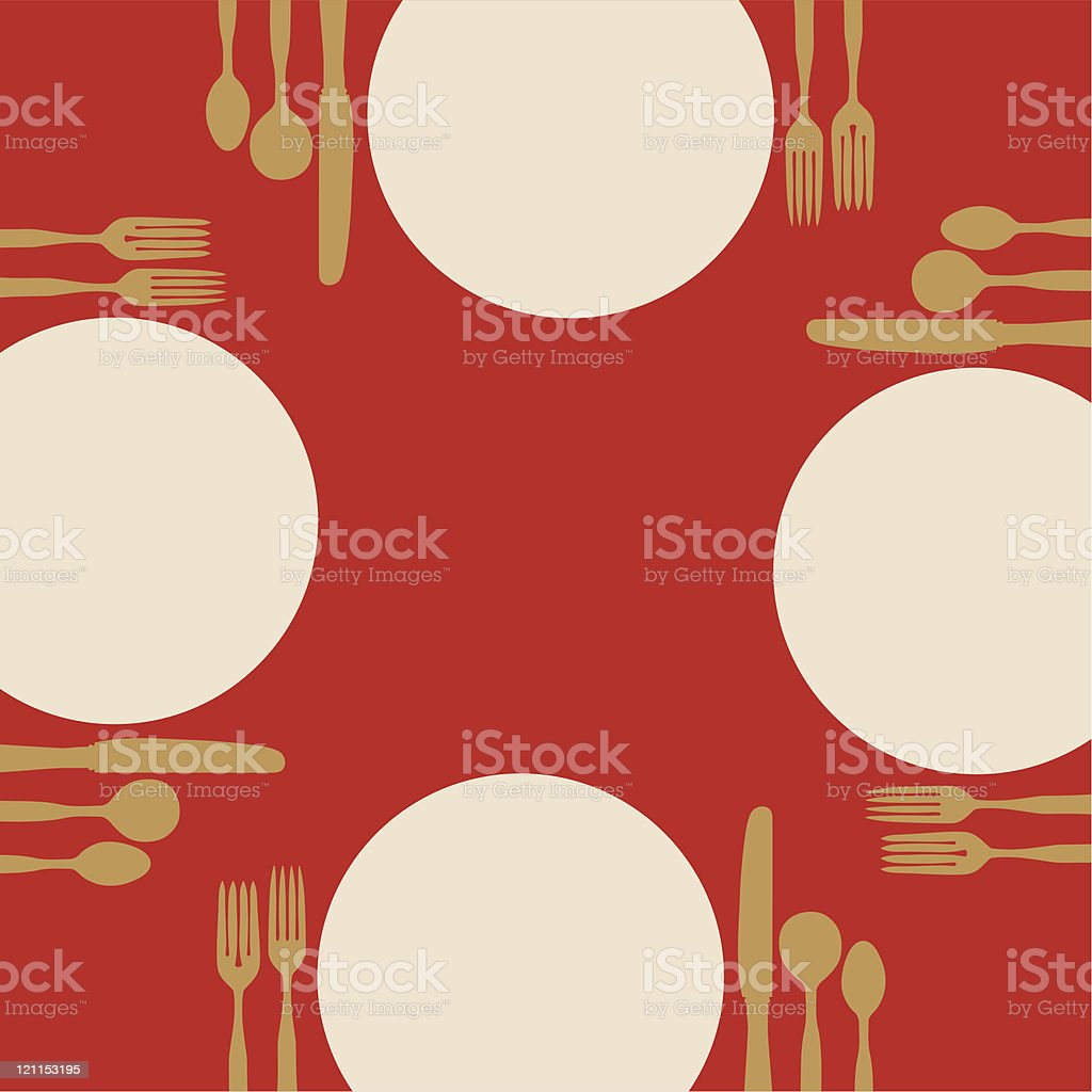 Plates and silverware on a red table royalty-free stock vector art