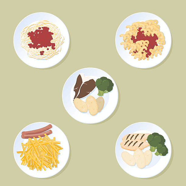 stockillustraties, clipart, cartoons en iconen met plates of food - bargerecht