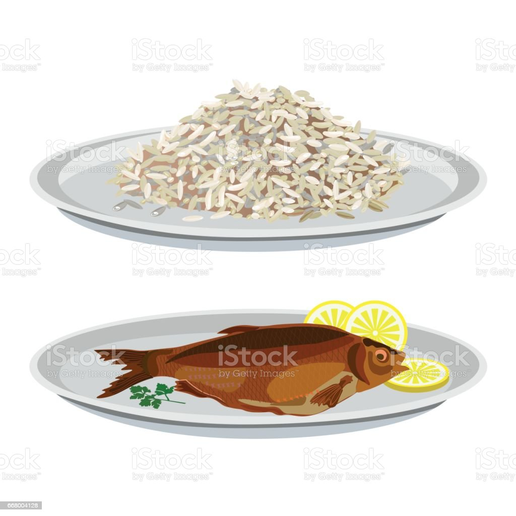 Plates with rice and fried fish vector art illustration