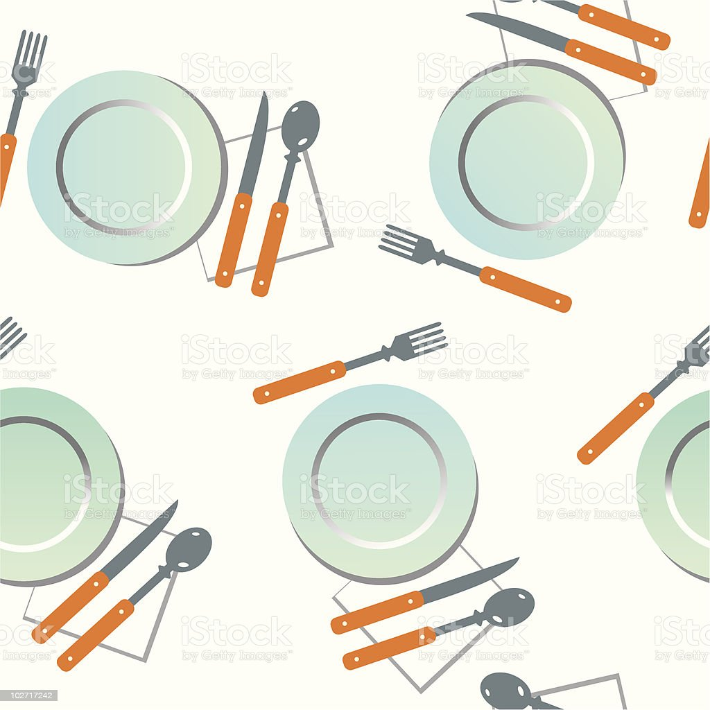 Plates with spoons royalty-free stock vector art