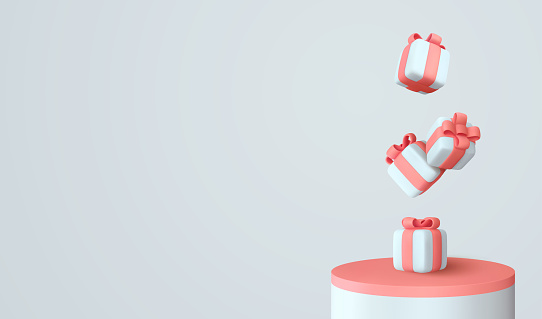 Platform and 3d studio, presentation podium. Background with realistic festive gifts box. Xmas present. Blue boxes fall effect. Holiday gift surprise. Merry Christmas and Happy New Year. Vector Stage