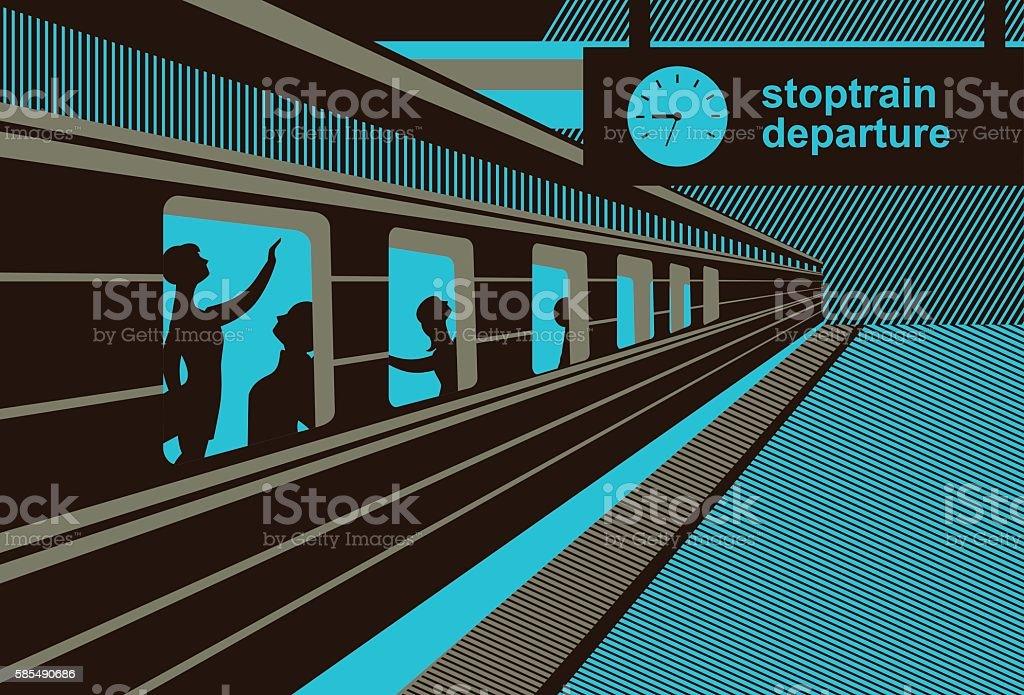 platform railway station vector art illustration