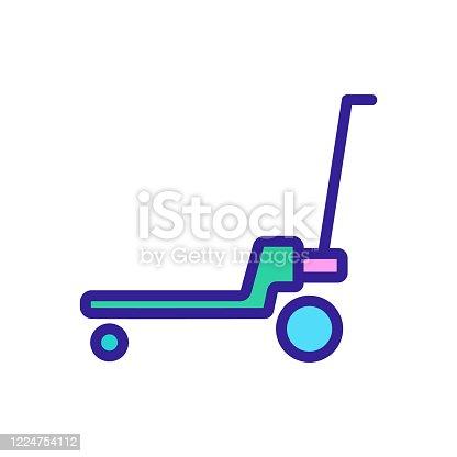 platform wheeled freight trolleys icon vector. platform wheeled freight trolleys sign. color symbol illustration