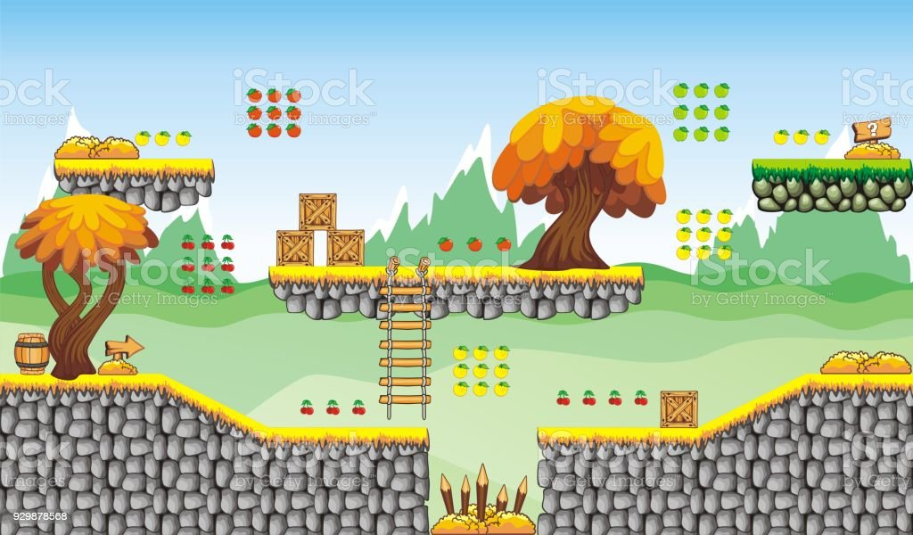 Platformer Game Tileset 2 Stock Illustration - Download