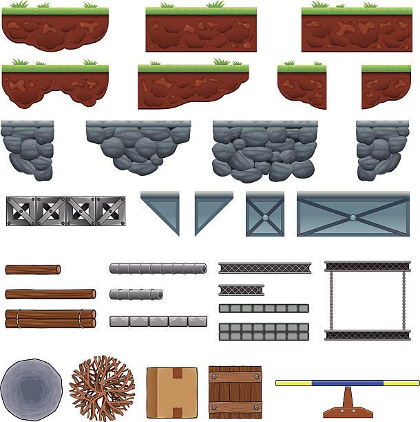 bildbanksillustrationer, clip art samt tecknat material och ikoner med platforms and items for games. - wood stone