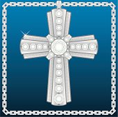 A platinum cross studded with large diamonds and surrounded by a chain.  Bling bling!
