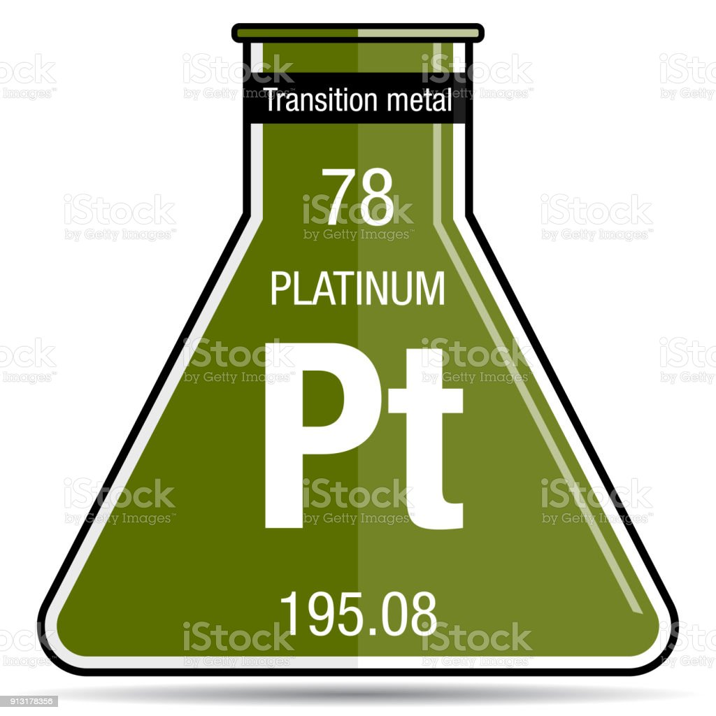 Platinum Symbol On Chemical Flask Element Number 78 Of The Periodic
