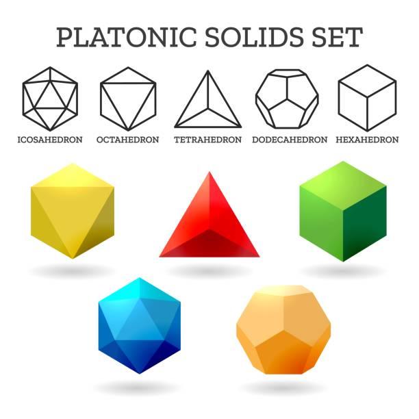 illustrations, cliparts, dessins animés et icônes de formes 3d platoniques - état solide