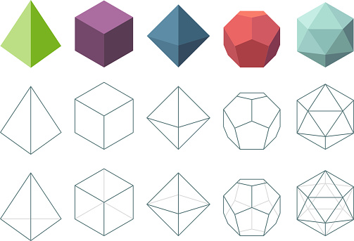 Platonic solid. Geometrical 3d object shapes vector collection