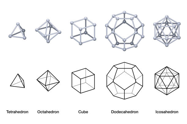 Platonic solids, black and white wireframe models vector art illustration
