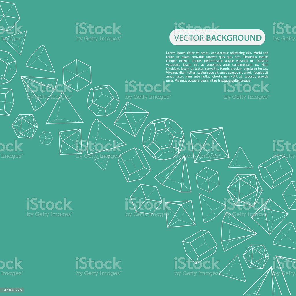 Platonic solids flow background vector art illustration
