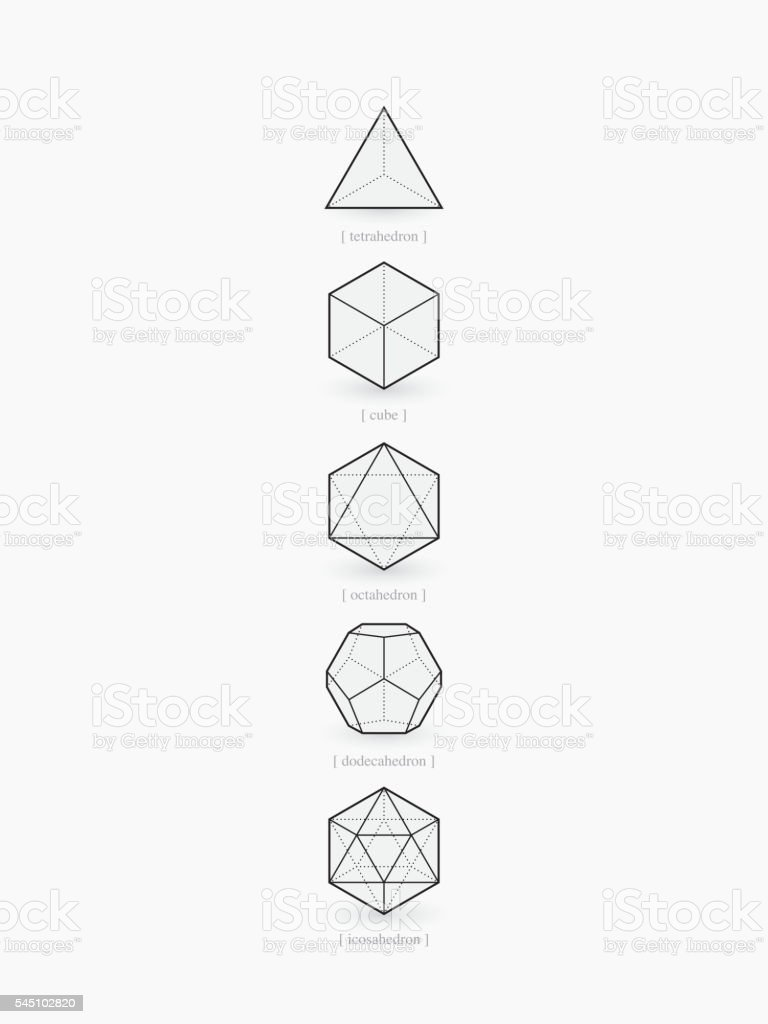 Platonic Solids Line Design Stock Vector Art More Images Of