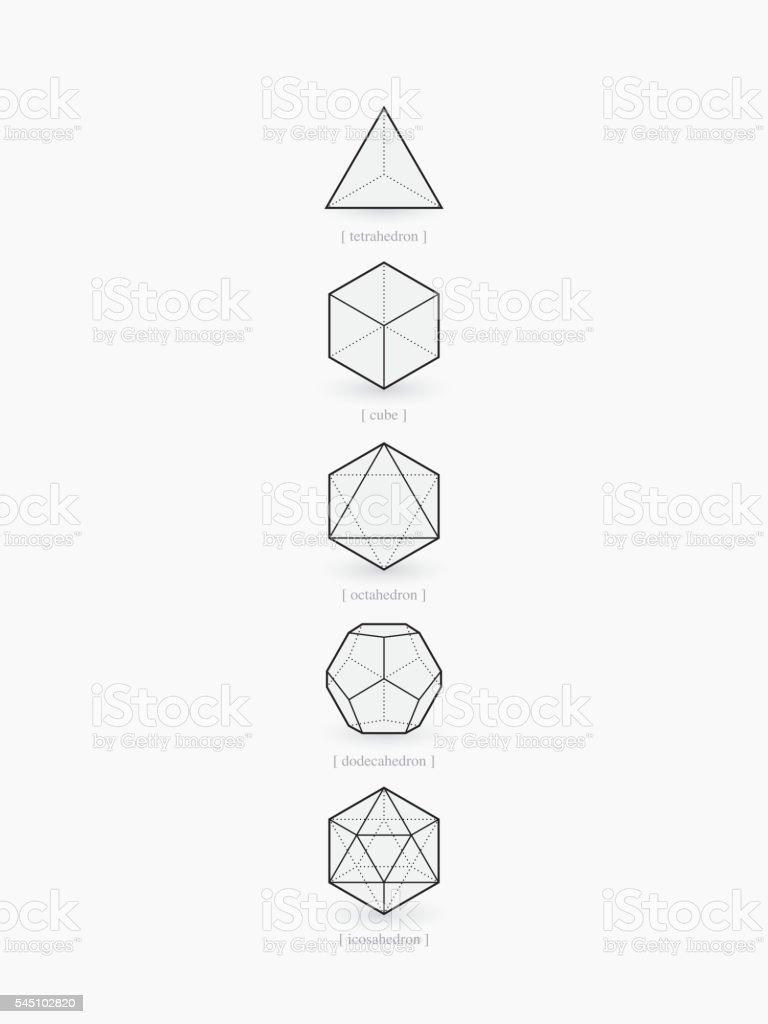 Platonic solids, line design vector art illustration