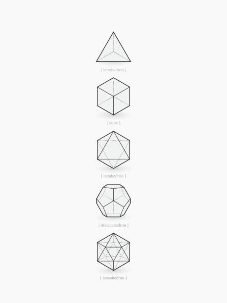 stockillustraties, clipart, cartoons en iconen met platonic solids, line design - veelvlakkig