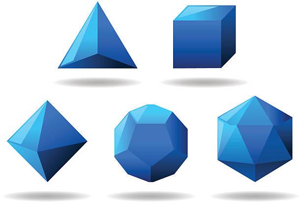 stockillustraties, clipart, cartoons en iconen met platonic solids set - veelvlakkig