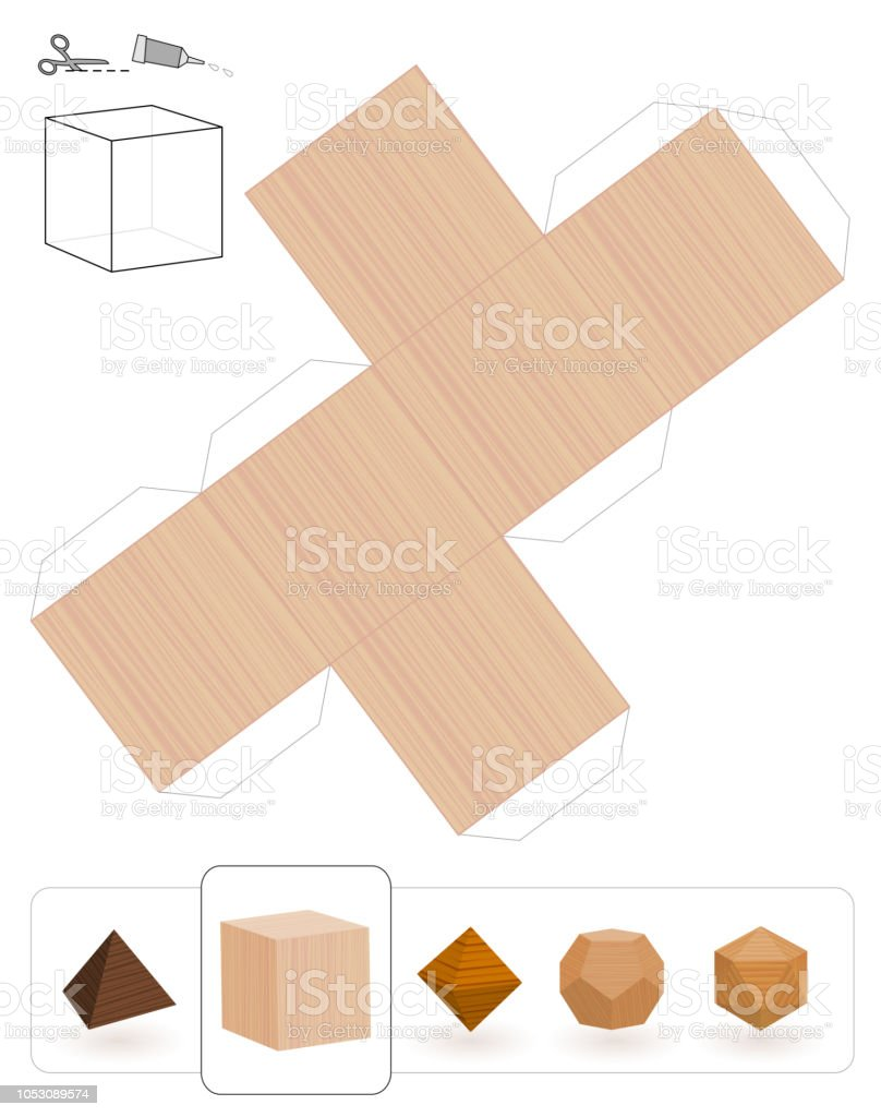 Template Of A Hexahedron With Wooden Texture To Make 3d Paper Model