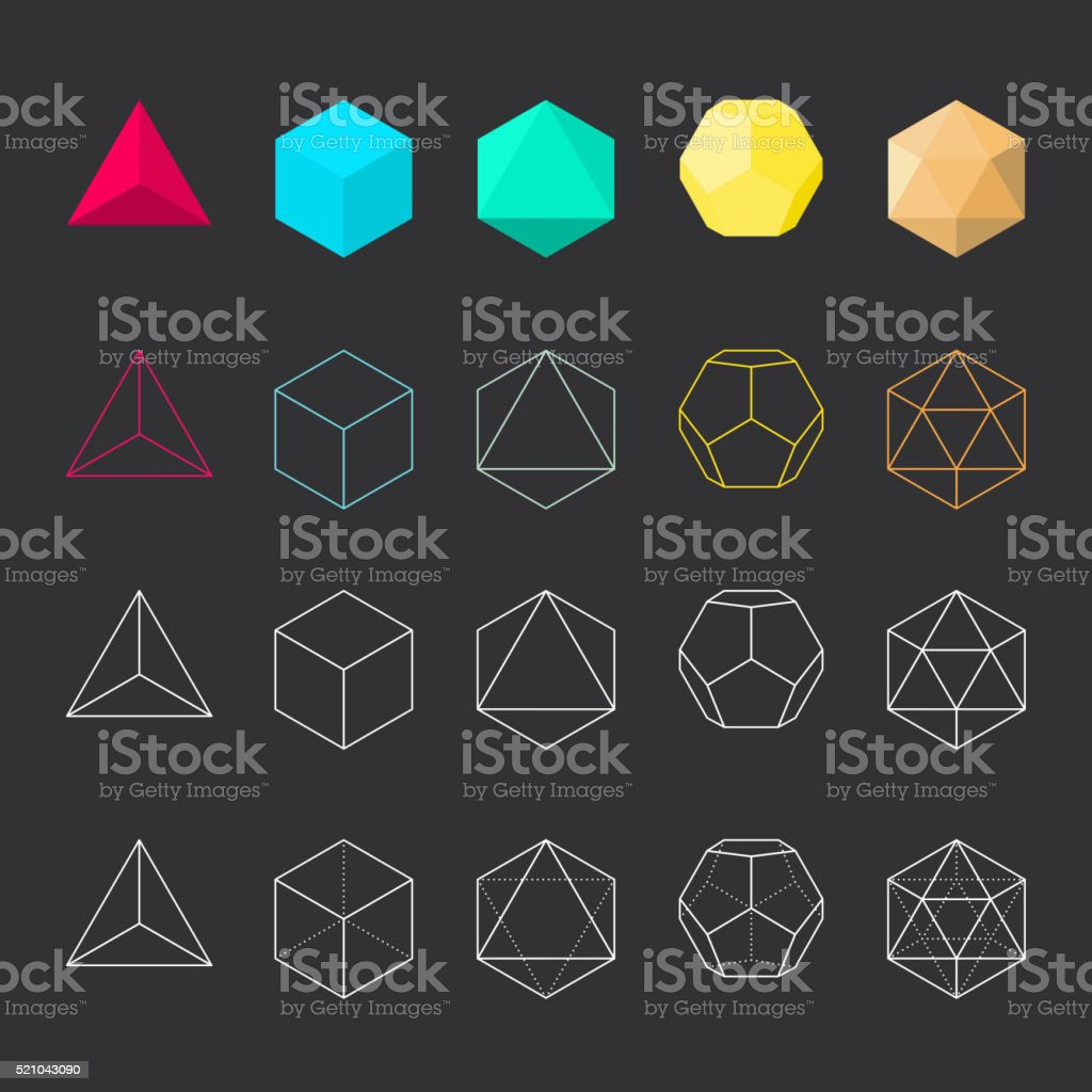 Platonic solids vector art illustration