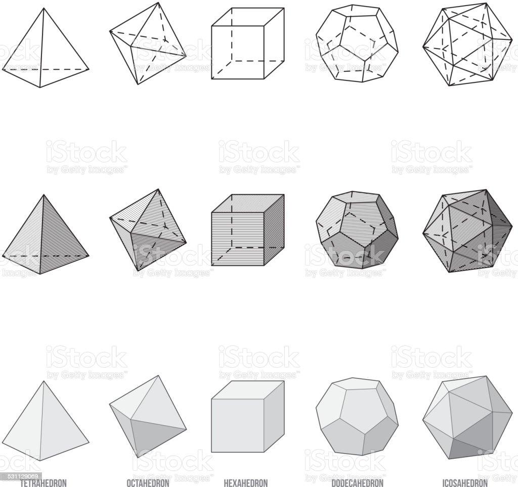Platonic solids, vector illustration vector art illustration