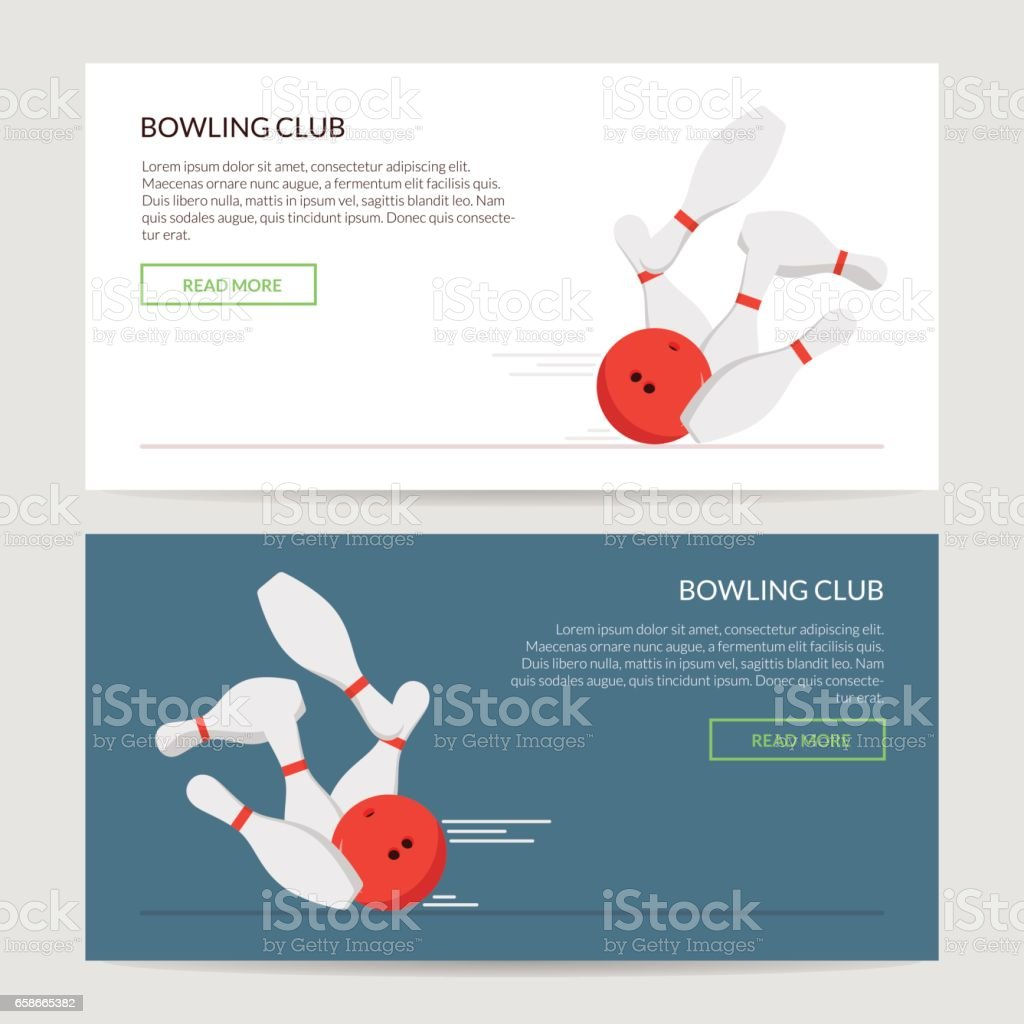 Play a bowling set of posters or caps for the site on a light background. The ball knocks down skittles. Button and text. Element of design for a site or advertising bowling club. vector art illustration
