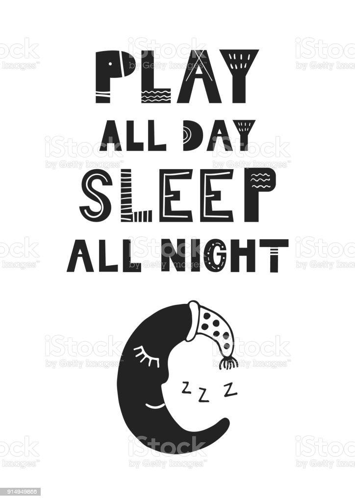 spielen sie den ganzen tag die schlafen sie ganze nacht einzigartige hand gezeichnete kinderzimmer