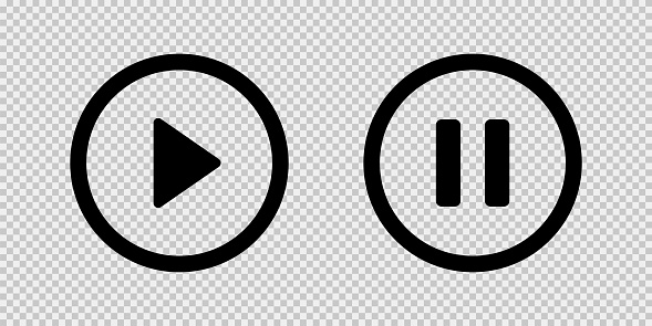 Play and pause vector button black icons isolated on transparent background. Black vector media play pause icons or sign symbols. EPS 10