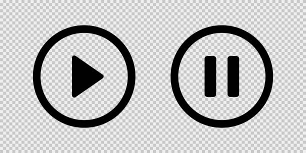 illustrazioni stock, clip art, cartoni animati e icone di tendenza di riproduci e metti in pausa le icone nere del pulsante vettoriale isolate su sfondo trasparente. i supporti vettoriali neri riproducino icone di pausa o simboli di segno. - riposarsi