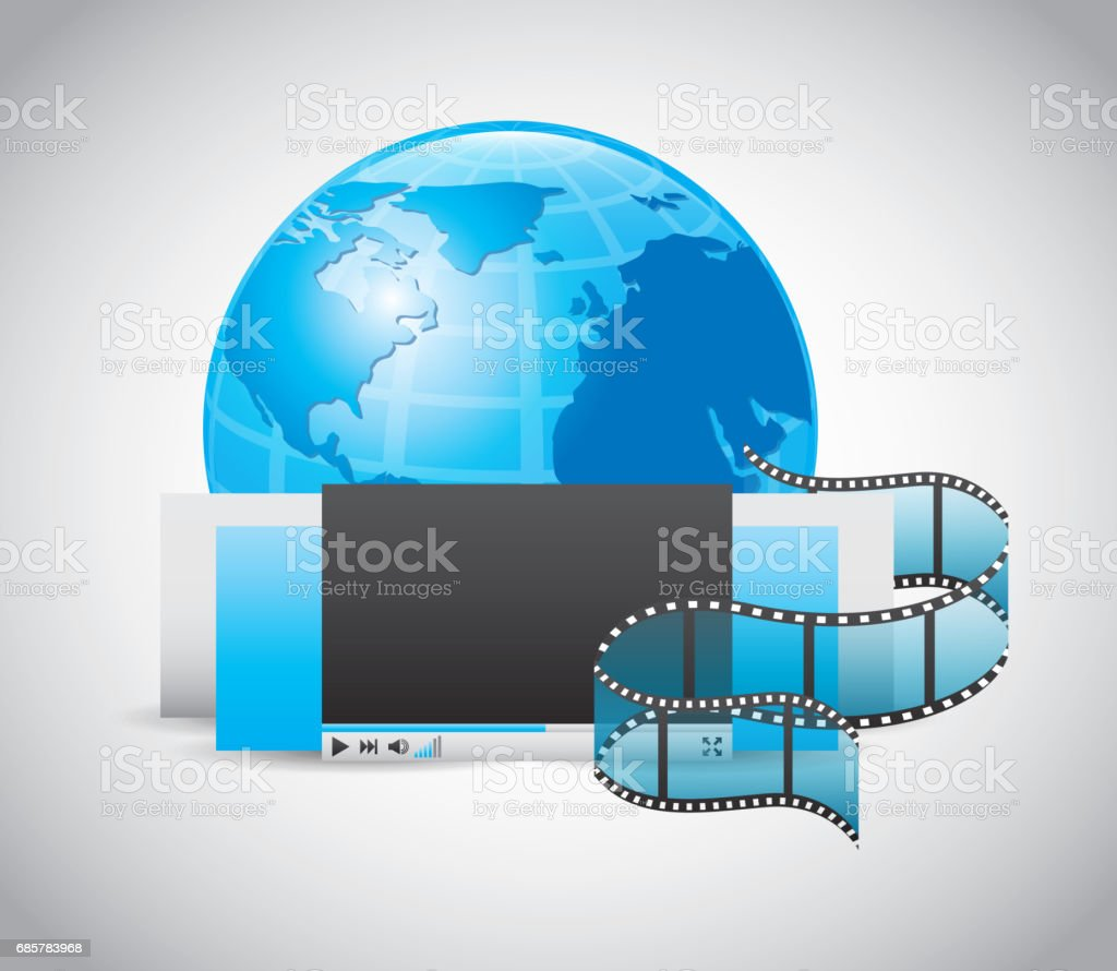 Play and planet icon. Movie design. Vector graphic royalty-free play and planet icon movie design vector graphic stock vector art & more images of advertisement