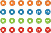 play and record button icon set grunge style 4 color