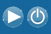 Play and standby transparent shiny buttons. On blueprint background. Vector illustration
