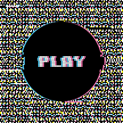 Play Banner with Glitch Noise Retro Effect