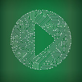 Play Button Circuit Board on royalty free vector background. The electric circuit board is white and is set against a green background. Detailed illustration of the circuit board fill up the entire object and forms clean edges. Icon download includes vector art and jpg file.