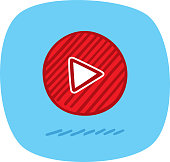 Vector illustration of a hand drawn red play button against a blue background.