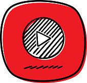 Vector illustration of a hand drawn play button against a red background.