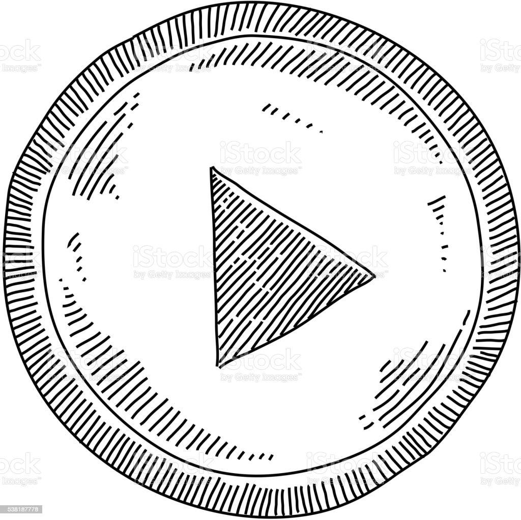 Bouton Jouer dessin - Illustration vectorielle