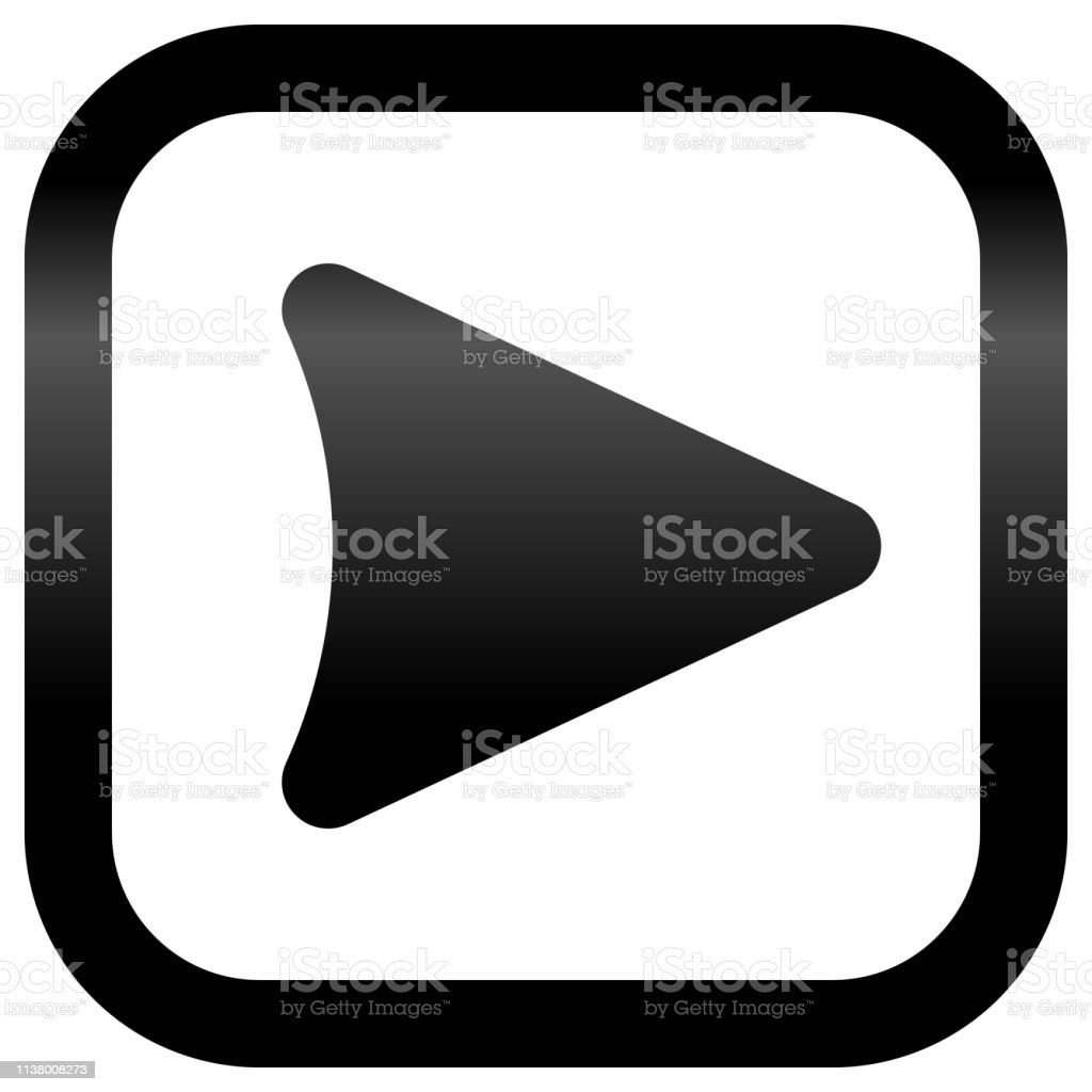 Play Button Icon Black Slick Gradient Isolated Vector Stock