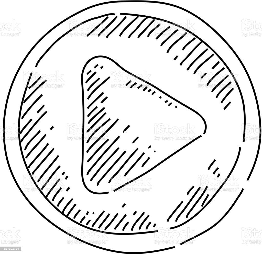 Jouer le bouton icône dessin - Illustration vectorielle